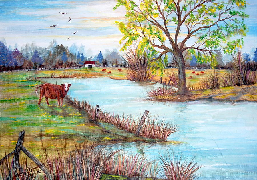 Hereford Cow Painting - Wonderful Farm Home by Janna Columbus