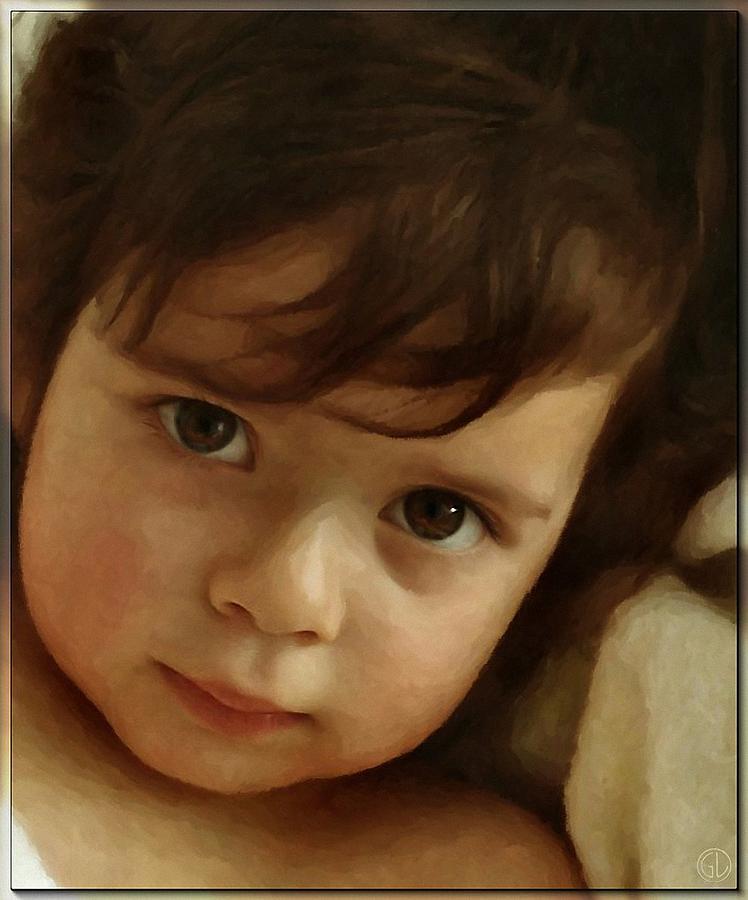 Child Digital Art - Wondering Eyes by Gun Legler