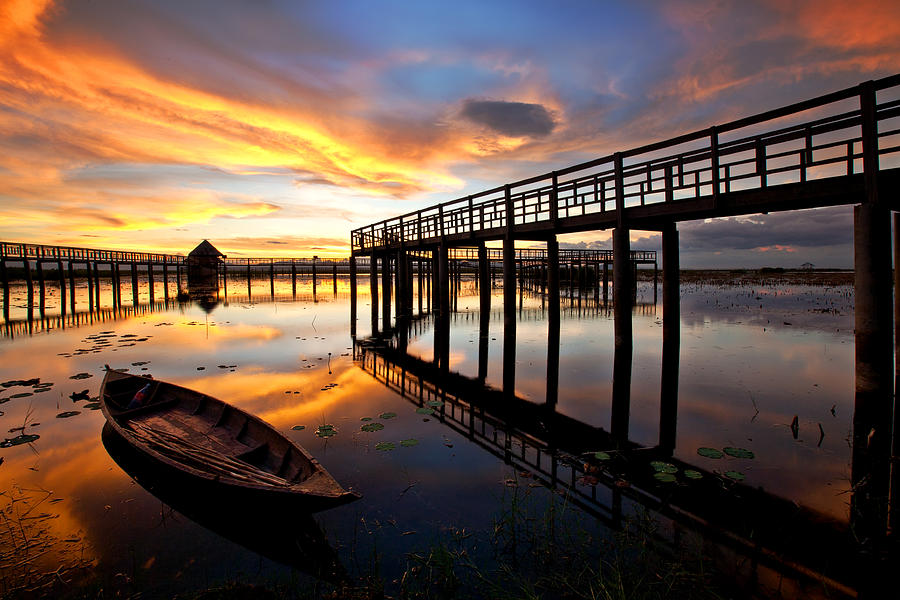 Wood Photograph - Wood Bridge In Sunset Thailand by Arthit Somsakul