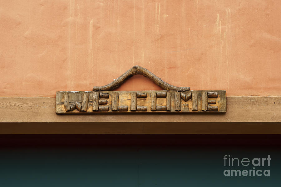 Welcome Photograph - Wood Welcome Sign by Blink Images