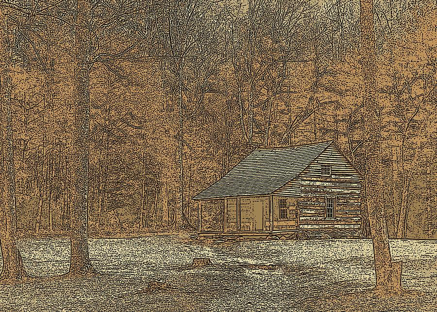 Jim Finch Photograph - Woodcut Cabin by Jim Finch