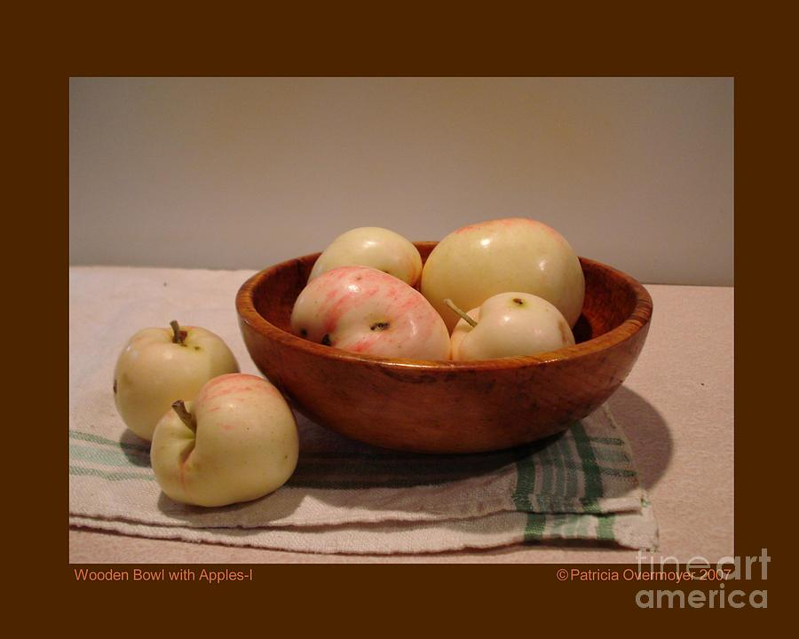 Still Life Photograph - Wooden Bowl With Apples-i by Patricia Overmoyer