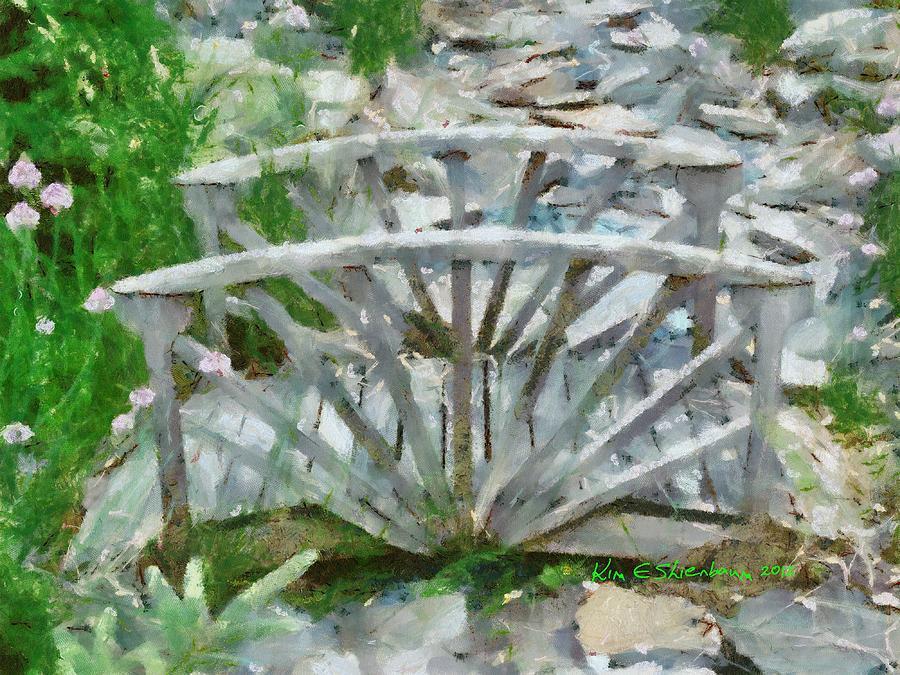 Landscape Mixed Media - Wooden Bridge On Stone Creek by Kim Ezra Shienbaum