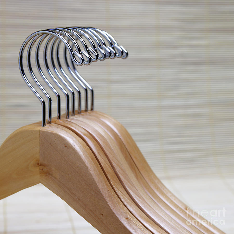 Close Up Photograph - Wooden Clothes Hangers by Skip Nall