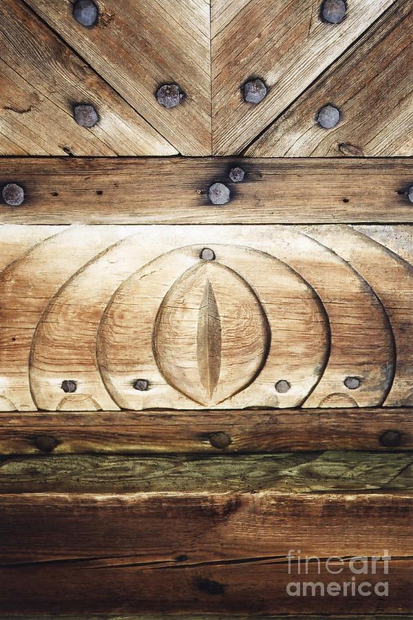 Entrance Photograph - Wooden Doors Detail by Agnieszka Kubica