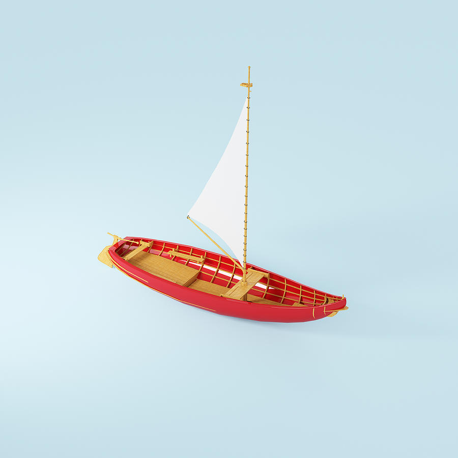 Square Photograph - Wooden Toy Sailing Boat by Jon Boyes