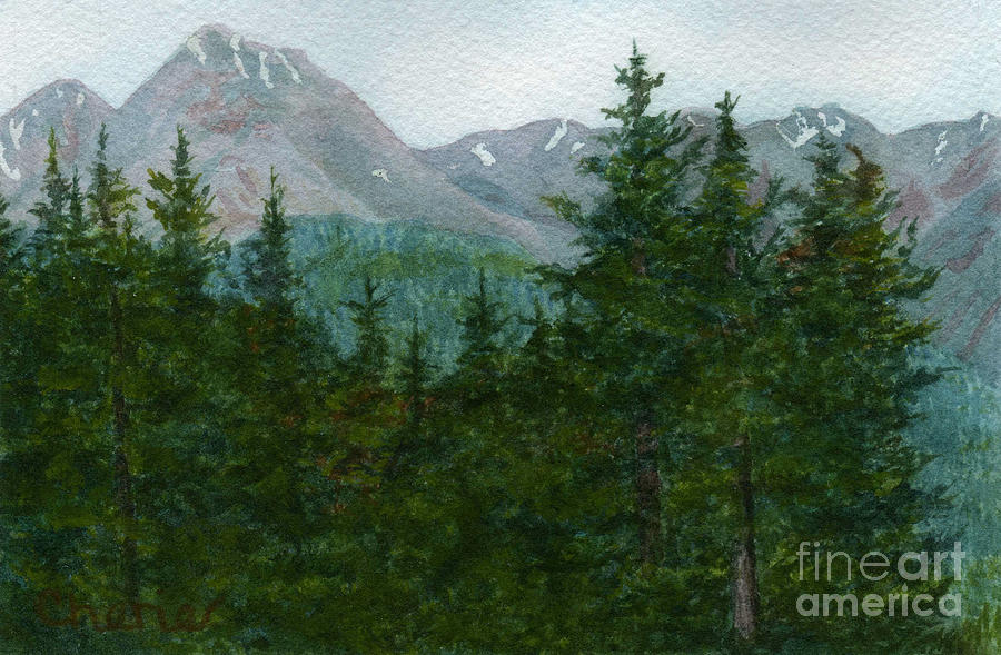 Mountain Scene Painting - Woodland Overlook by Vikki Wicks