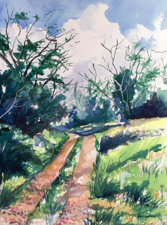Woodsy Trail Painting by Jon Shepodd