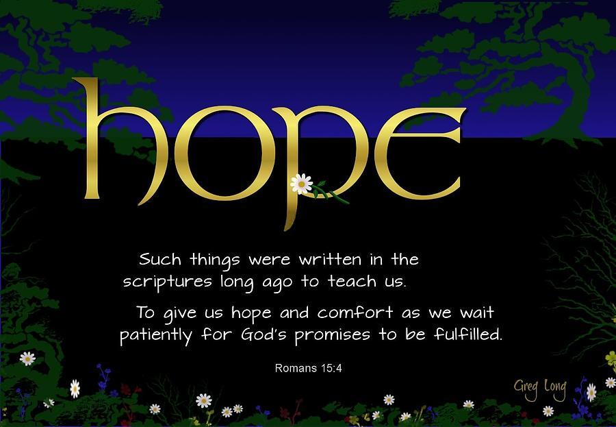 Scripture Art Prints Digital Art - Word Of Hope by Greg Long