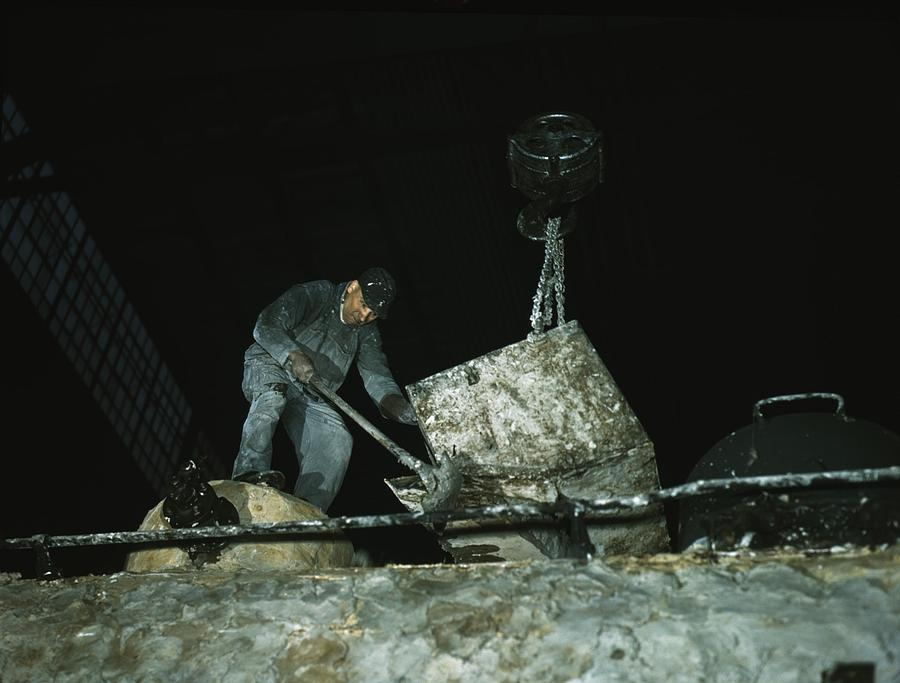 History Photograph - Worker Spreading A Hazardous Asbestos by Everett
