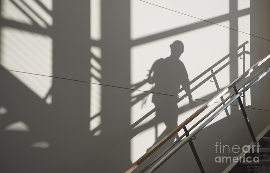 1 Photograph - Workers Shadow In A Stairwell by Andersen Ross