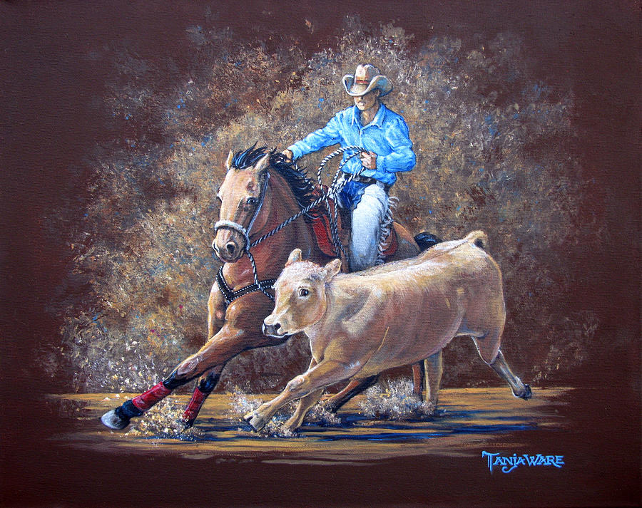 Cowboy Painting - Workin For A Livin by Tanja Ware