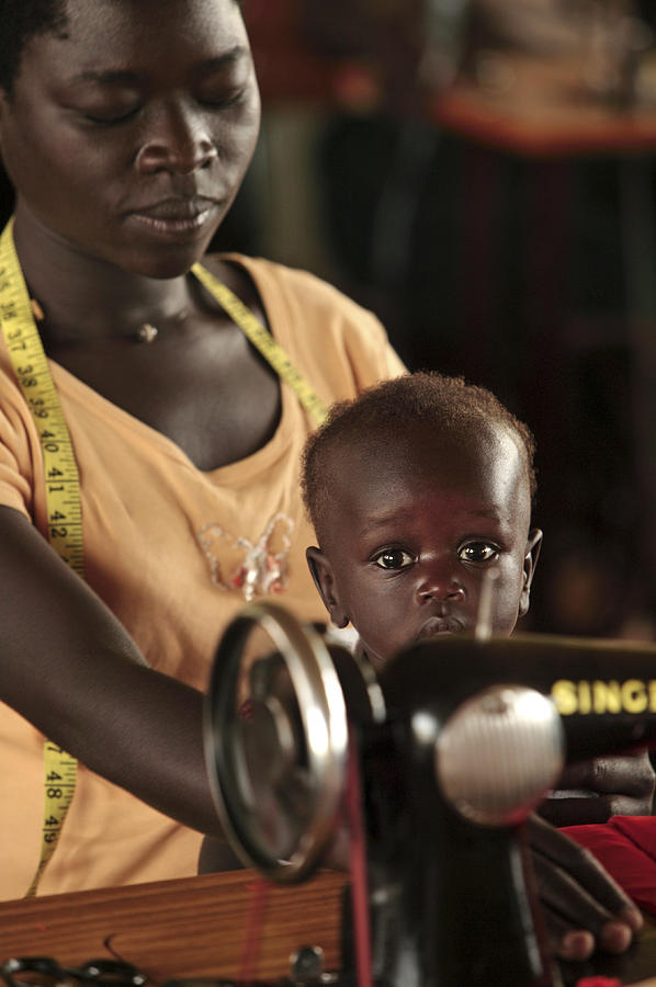 Equipment Photograph - Working Mother And Child, Uganda by Mauro Fermariello