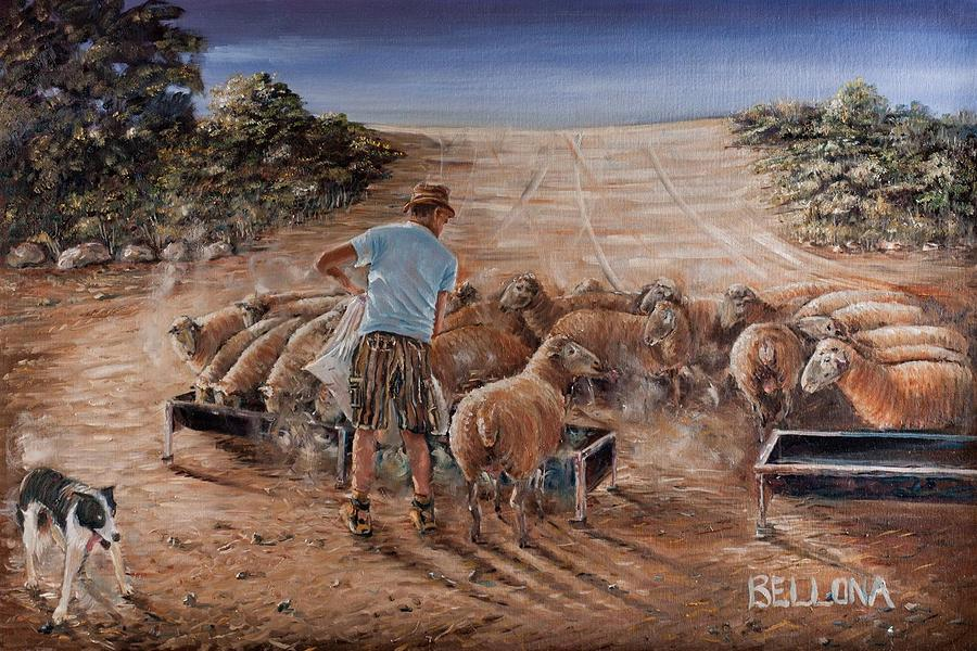 Sheep Farmer Painting - Working Sheep In South-africa by Wilma Kleinhans