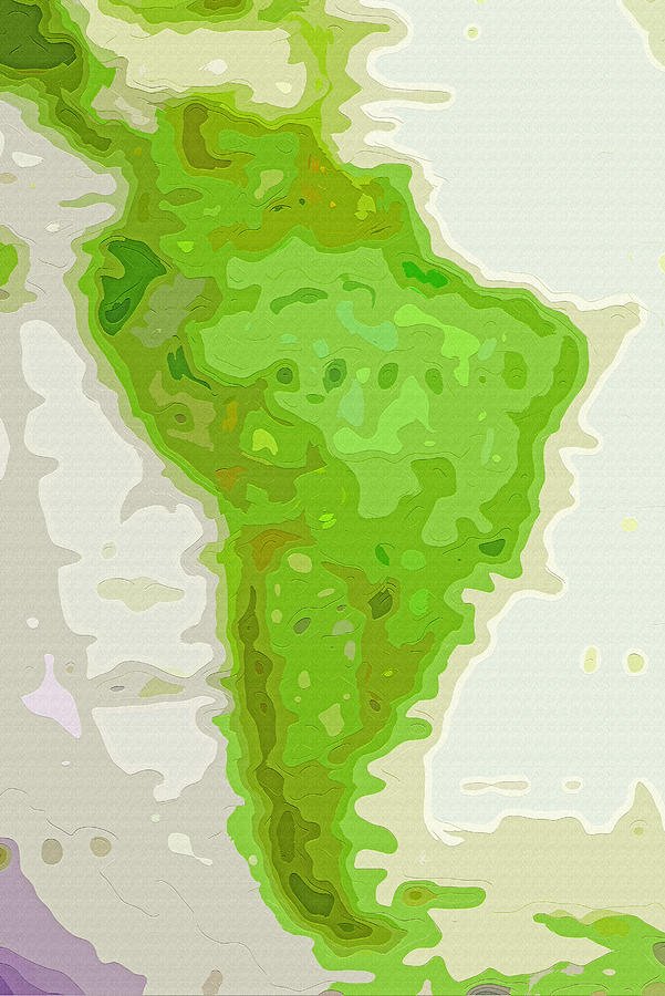 Map Photograph - World Map - South America - Abstract by Steve Ohlsen
