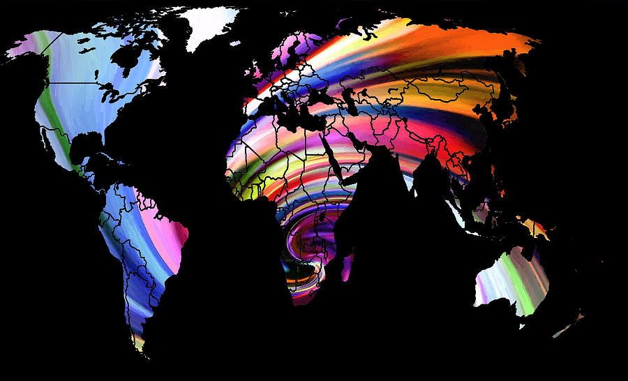 World map abstract painting 2 digital art by steve k gumiabroncs Gallery