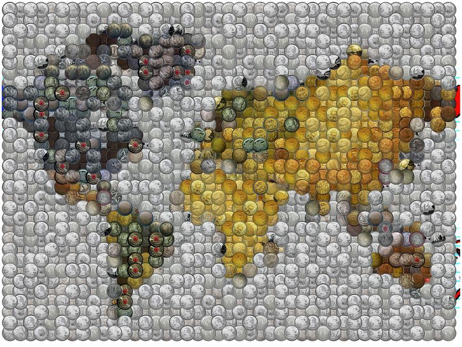 fb79b785ed04 World Map Coin Mosaic by Paul Van Scott