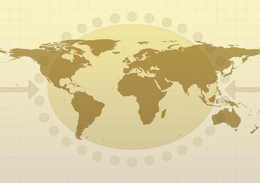 Horizontal Digital Art - World Map by Flatliner
