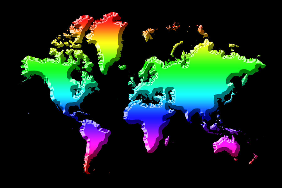 World Map Rainbow Photograph By Andrew Fare