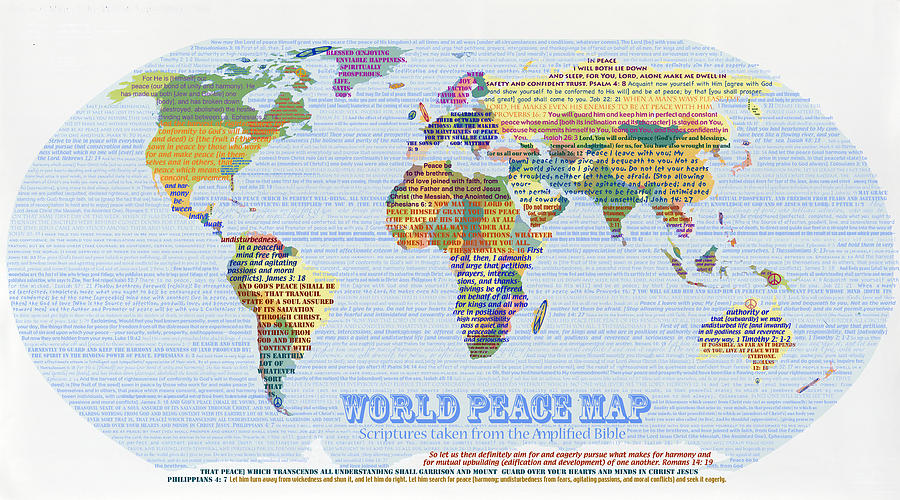 World peace map scripture digital art by anne cameron cutri world map digital art world peace map scripture by anne cameron cutri publicscrutiny Image collections