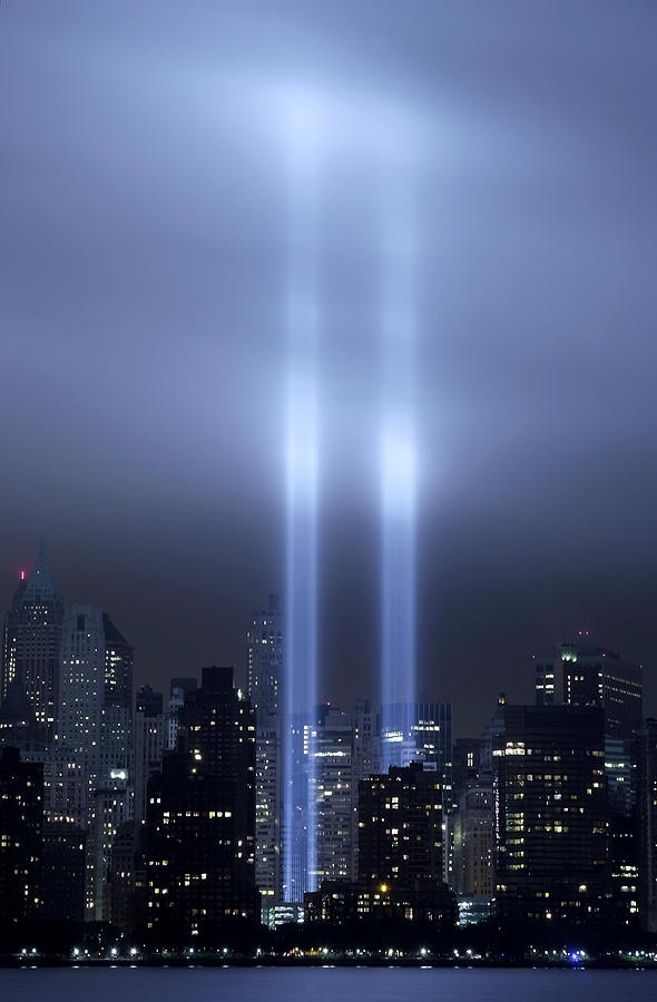 New York City Photograph   World Trade Center Memorial Lights By Michael  Dorn