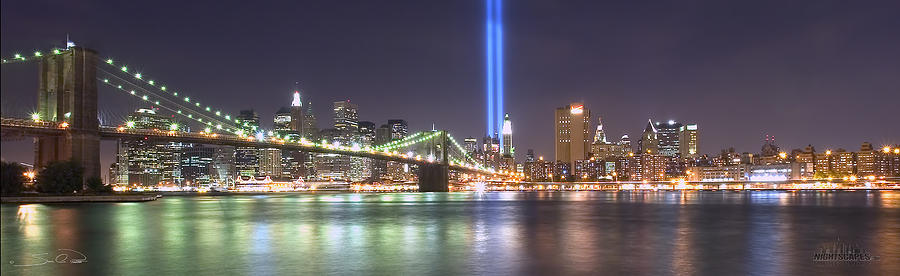 Nightscape Photograph   World Trade Center Tribute Lights By Shane Psaltis