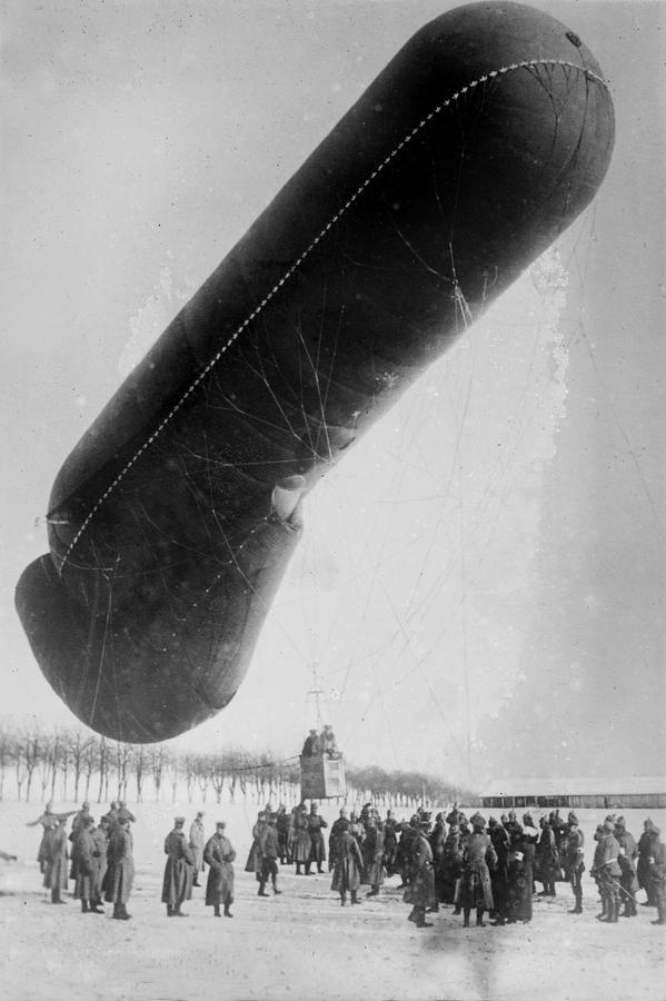 1910s Photograph - World War I, German Observation Balloon by Everett