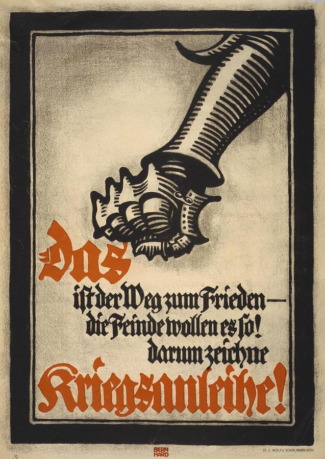 1910s Photograph - World War I, German Poster Depicting by Everett