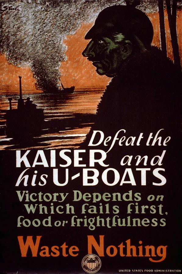 1910s Photograph - World War I, Poster Showing A Dark by Everett