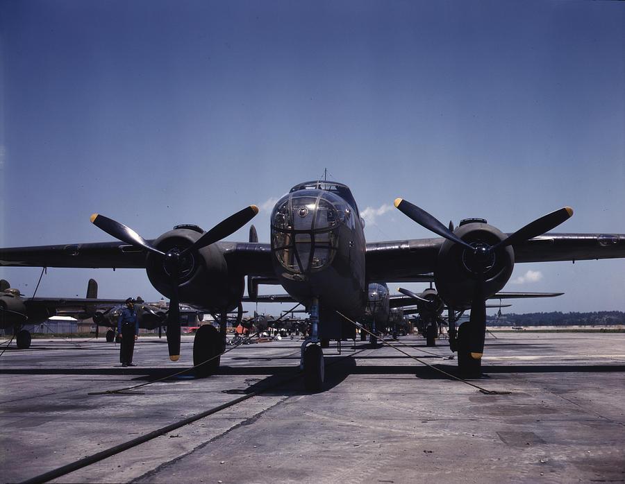 1940s Photograph - World War II, B-25 Bomber Planes by Everett