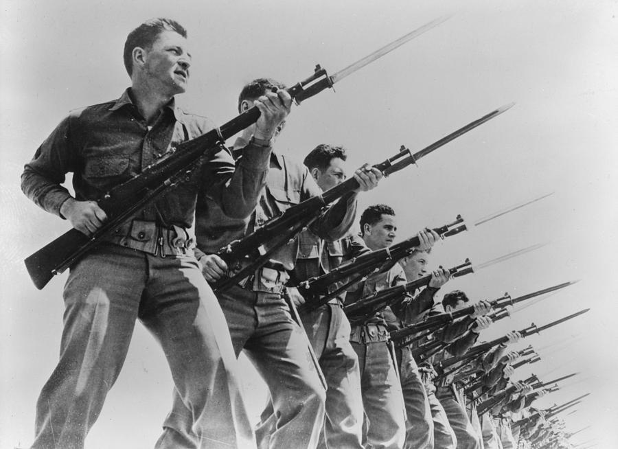 1940s Photograph - World War II, Bayonet Practice by Everett