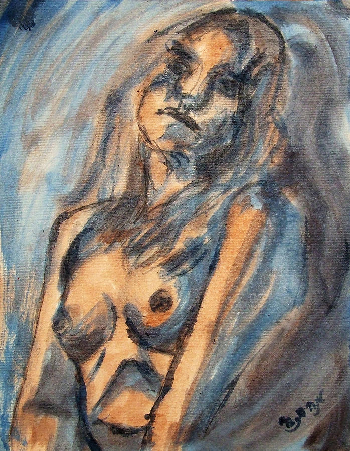 Nude Painting - Worried Young Nude Female Teen Leaning And Filled With Angst In Orange And Blue Watercolor Acrylics by M Zimmerman