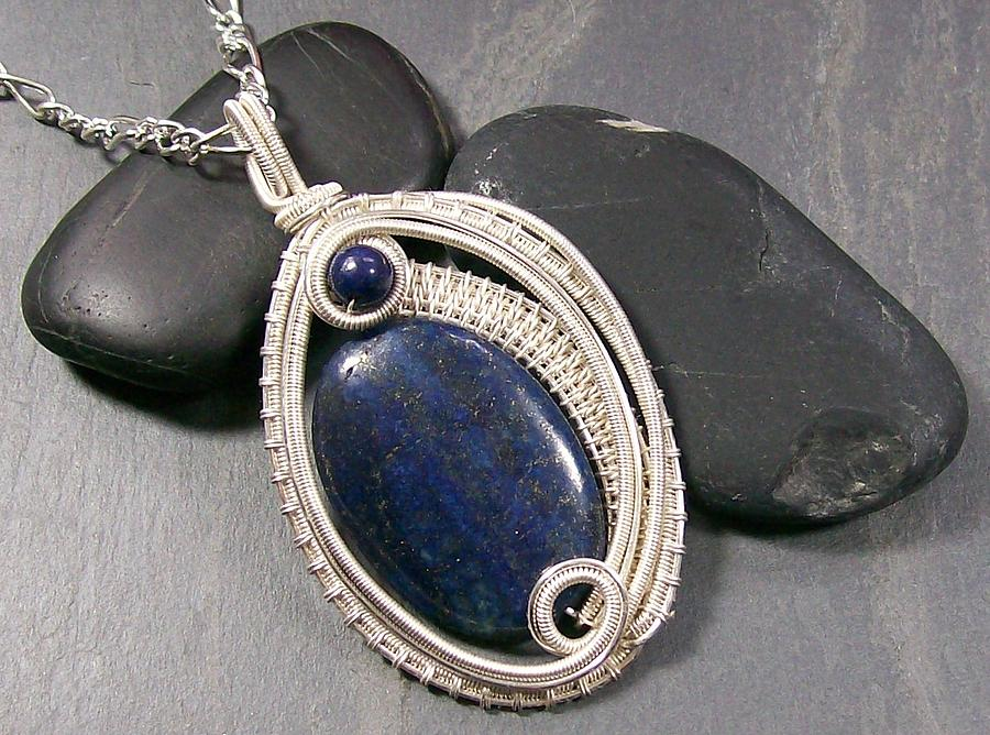 Pendant Jewelry - Woven Oval Lapis Lazuli And Silver Pendant by Heather Jordan