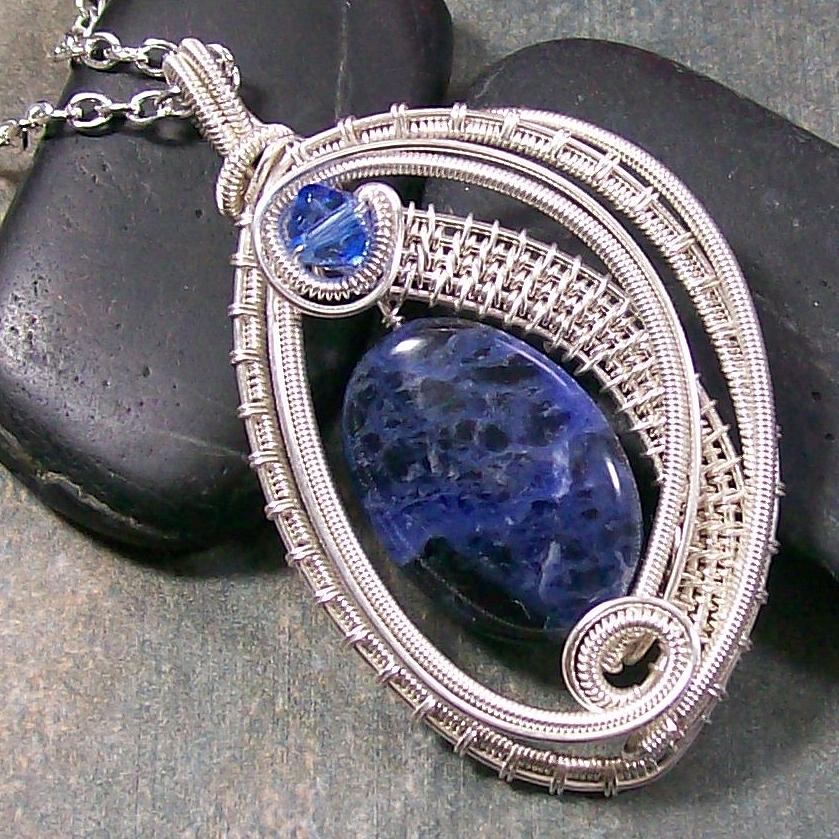 Pendant Jewelry - Woven Oval Sodalite And Silver Pendant by Heather Jordan