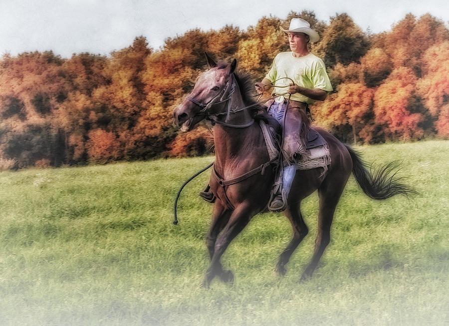 Horse Photograph - Wrangler And Horse by Susan Candelario