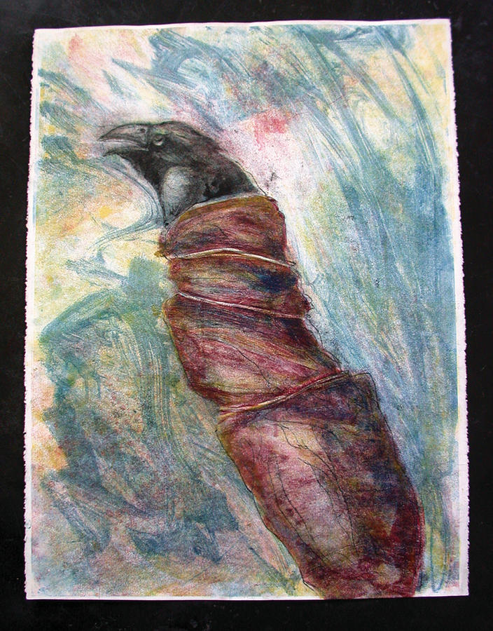 Wrapped Raven Mixed Media by James Rees
