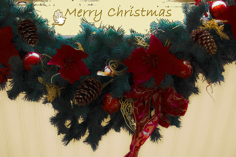 Wreath Photograph - Wreath Garland Greeting by DigiArt Diaries by Vicky B Fuller