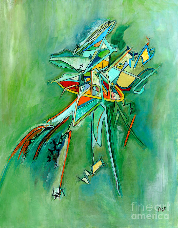 Unique Abstract Painting - Contemporary Green Colorful Plane Abstract Composition by Marie Christine Belkadi