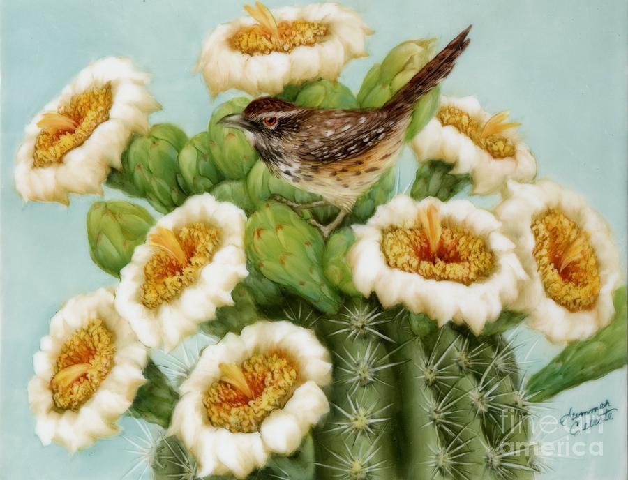 Wren Painting - Wren And Saguaro Blossoms  by Summer Celeste