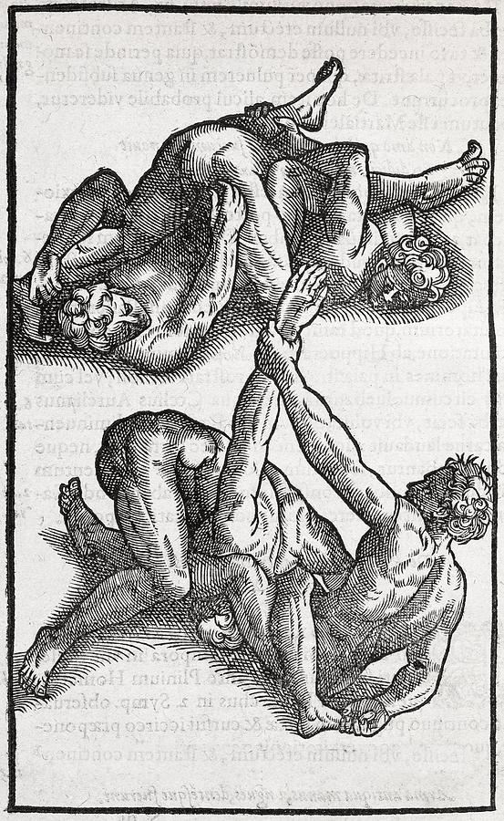 Human Photograph - Wrestling Moves, 16th Century Artwork by Middle Temple Library