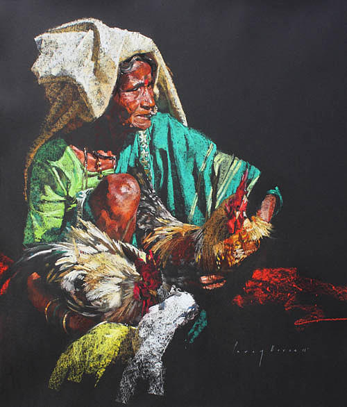 Wrinkles And The Rooster   Painting by Parag Borse