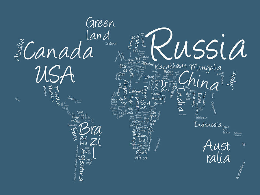 Writing text map of the world map digital art by michael tompsett world map digital art writing text map of the world map by michael tompsett gumiabroncs Image collections