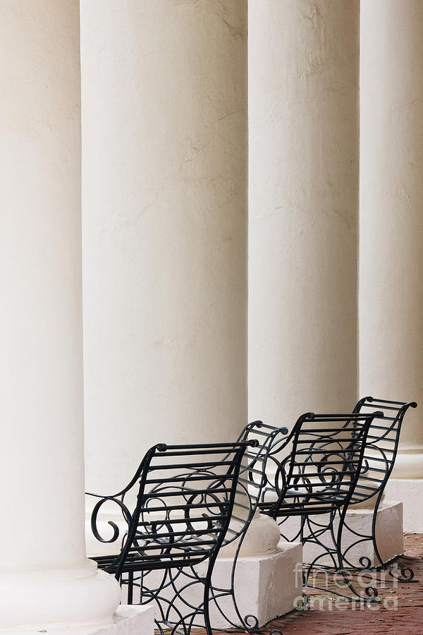 Architectural Detail Photograph - Wrought Iron Chairs And Columns by Jeremy Woodhouse