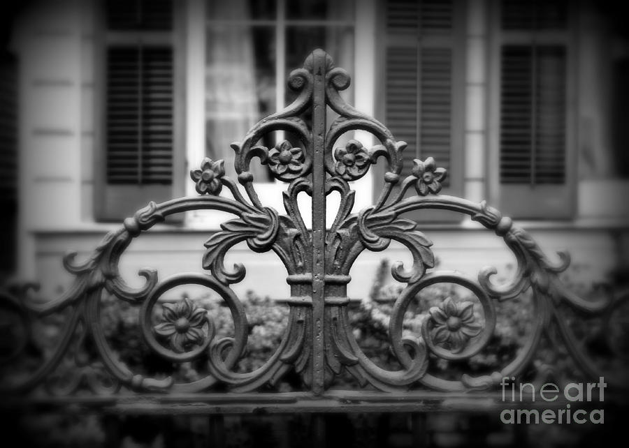 Fence Photograph - Wrought Iron Detail by Perry Webster
