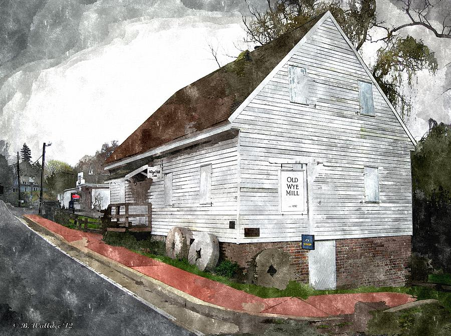 2d Photograph - Wye Mill - Water Color Effect by Brian Wallace