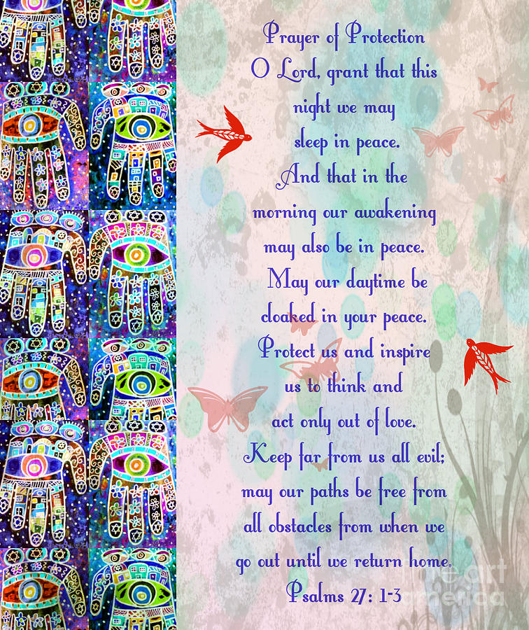 x Judaica Prayer Of Protection Painting by Sandra Silberzweig