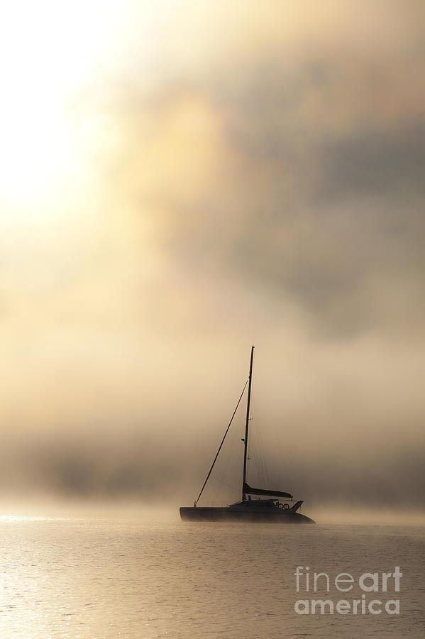 Mist Photograph - Yacht In Mist by Avalon Fine Art Photography