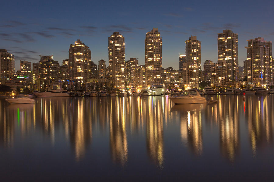 Vancouver Photograph - Yaletown at night by Mirco Millaire