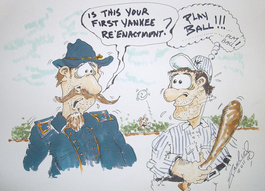 Baseball Drawing - Yankee Mistake by Paul Chestnutt