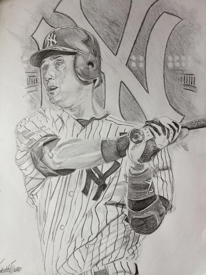 Derek Drawing - Yankee Pride Derek Jeter  by Keith Evans